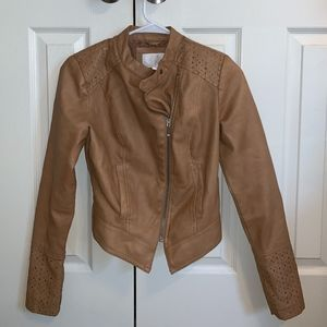 Tan Pleather Zip-Up Jacket